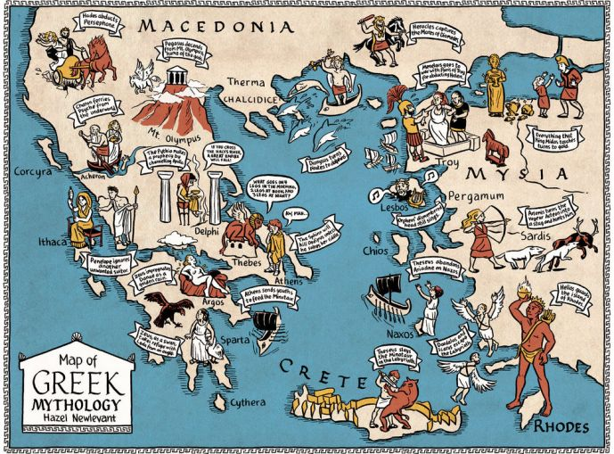 mapa mitologia griega